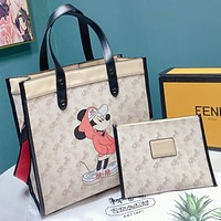 COACH Fashion New Horse Car Print Leather Shoulder Bag Crossbody Bag Handbag Two Piece Suit