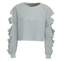 Grey Cut Out Sleeve Raw Hem Cropped Sweatshirt