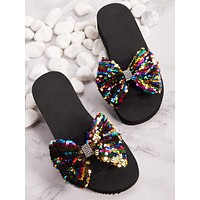 Sequins Bow Decor Open Toe Sliders