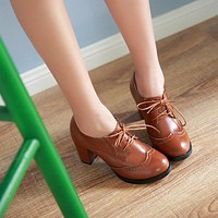 Lace Up Ankle Boots Chunky Heel Pumps 2607