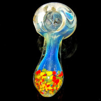 Fumed Color Changing Spoon Pipe with Rasta Frit - Cute Convenient Heavy Discreet Tobacco Smoking Piece