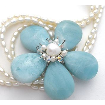 Freshwater Pearl Necklace with Aquamarine Flower