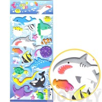 Large Sea Creatures Themed Whale Sharks Stingrays Fish Shaped Puffy Stickers for Scrapbooking