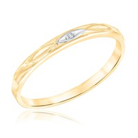 Engraved Accent Diamond Yellow Gold Stackable Ring