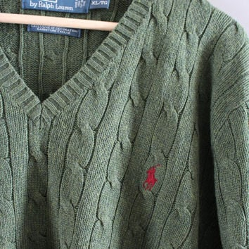 Ralph Lauren Sweater 100% SILK Olive Green Cable Knit Sweater Polo Slouchy Sweater V-neck Unisex Knit Minimalist Vintage 90s Size L - XL