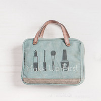 MONA B MAKE UP FIRST RECYCLED CANVAS LARGE COSMETIC MAKUP BAG
