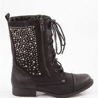 Twinkle Time Lace Up Combat Boots - Black