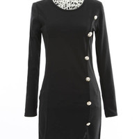 Long Sleeves Bodycon Pencil Mini Dress Dress with Button