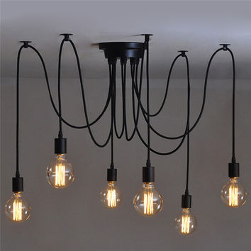6 heads Vintage Industrial Edison Ceiling Lamp Loft Country Style Retro Pendent Lights For Home Indoor Decor