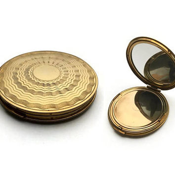 Gold Plated Powder Compact | 1940's Compact | Vintage Compact | Gold Compact | Engine Turned | Loose Powder Compact | Christmas Gift