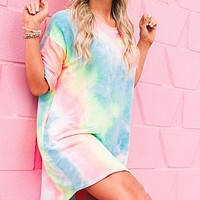 New Women's Round Neck Short Sleeve Loose Gradient Printed Dress