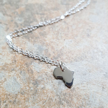 Sterling Silver Africa Charm Necklace