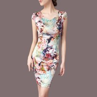 Women Dress Floral Print Work Business Casual Party Vestidos Free Shipping Long Maxi Dresses 156