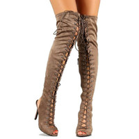 Randi-23 Black Taupe Suede Peep toe Thigh-high Lace up Boots Stiletto Heels
