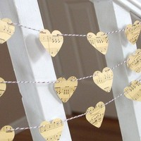 Vintage Inspired Music Sheet Heart Garland - 3 yards - Wedding and Home Decoration