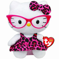 Ty Beanie Baby Hello Kitty Plush -Pink Leopard Nerd with Glasses