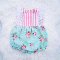 Newborn Baby Girls Clothes Rompers Striped FLORAL kids little girl rompers summer Lovely Rompers for girl Clothes Sunsuit