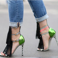 Summer Design High Heel Fashion Tassels Sandals = 4814660036