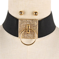 """13"""" crystal pave door knocker choker collar stretch necklace earrings"""