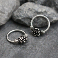 Rose Nipple Piercing, Nipple Ring, Nipple Jewelry, Septum Piercing, Septum 16G, Daith Hoop, Daith Ring,Rook Hoop,Rook Jewelry,Conch Earring