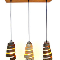 """""""Caledonia"""" Reclaimed Barn Wood and Wine Barrel Ring Adjustable Chandelier -- 100% RECYCLED"""