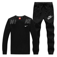 NIKE New fashion letter hook print couple leisure long sleeve top and two piece suit Black