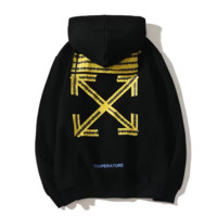 Off White New fashion letter arrow print hooded long sleeve sweater Black
