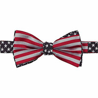 Blue stars and stripes print bow tie