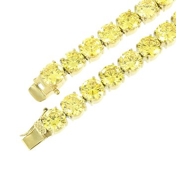 """Tennis Stainless Steel Chain Canary Lab Diamond 10mm Gold Finish 36"""" Heavy Mens"""