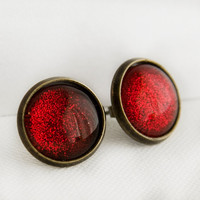 Ruby Slippers Post Earrings in Antique Bronze