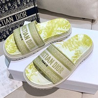 Dior DWAY SLIDE early spring new jacquard embroidery sandals Shoes Yellow