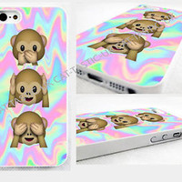 Tie Dye,monkey, Emoji,emojis, iPhone 4,4s, 5C, 5S,5,bright,glossy cover Case