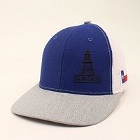 Men's Ariat Oil Field Cap Blue with Texas Flag Patch Hat A300007327