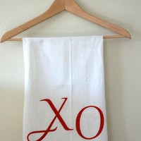 XO Bar Towels Set of Two Red on White