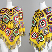 Vintage 70s Granny Square Multicolored Crochet Wool Poncho Fringed Cape Hippy Cape Knit Poncho Wool Shawl Mexican Poncho 1970s Clothing