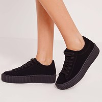 Missguided - Lace Up Flatform Trainers All Black