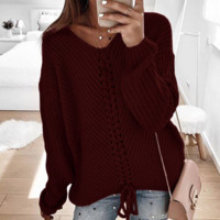 Explosion models Wish women's loose stitching sweater