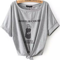 Grey Short Sleeve Graphic Printed Tie Front T-Shirt