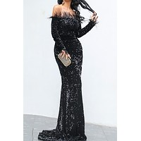 Savage Feather Sequin Maxi Dress(Ready To Ship)