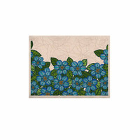 """Art Love Passion """"Blue Flower Field"""" Beige Blue KESS Naturals Canvas (Frame not Included)"""