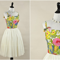 Cassie dress // 60s mod sheer ivory chiffon sequin floral bust dress // full skirt bright colors // size S