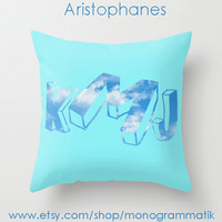 """Monogram Personalized Custom """"Aristophanes"""" Pillow Cover 16x16 Initials Unique Gift for Her Him Couch Art Bedroom Room Teal Blue Sky Clouds"""