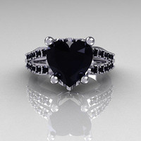 AMAZING 5.10CT BLACK HEART CUT 925 STERLING SILVER ENGAGEMENT RING FOR HER