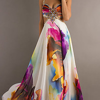 Open Back Long Print Dress by Dave and Johnny