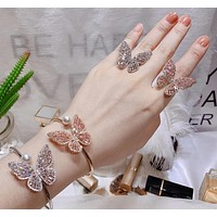 Elegant Butterfly Bracelet Earrings Ring Set