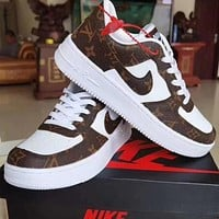 LV Louis Vuitton NIKE Air force 1 stitching color letter print low-top men's and women's sneakers Shoes Coffee