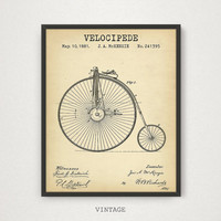 Velocipede Patent Printable, Bicycle Art, Vintage Bike Poster, Digital Download, Old Bicycle Wall Art, Retro Rower Print, Penny Farthing