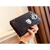 DIOR fashion ladies' pure color patent leather shoulder bag hot seller of casual shopping bag Black