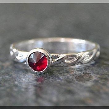 Sterling Silver Birthstone Stacking Ring, Choose Your Birthstone, Stacking Gemstone Ring, Mothers Ring, Rope Stacking Ring, Inverted Setting