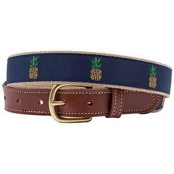 Perspicacious Pineapple Leather Tab Belt by Country Club Prep